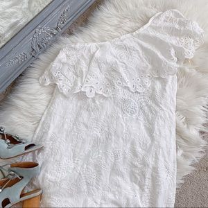 NWT Farm Rio White One Shoulder Eyelet Mini Dress
